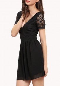 Black Patchwork Pleated Lace Hollow-out Deep V-neck Graduation Party Mini Dress