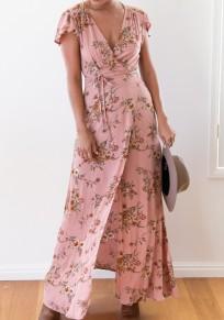 Vestido largo corte en V con cuello floral manga corta moda rosa