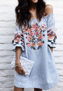 Blue Flowers Embroidery Off Shoulder Long Sleeve Mini Dress
