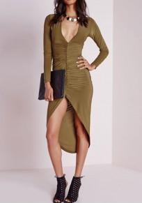 Armeegrün Unregelmäßiger tiefer Ausschnitt Langarm Midi Kleid