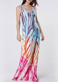 Blue-Red Color Block Print Draped Round Neck Sleeveless Bohemian Maxi Dress