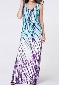 Robe maxi bloc de couleurs imprimé drapé col rond sans manches bohème bleu-violet