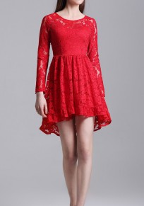 Red Patchwork Lace Draped Round Neck Long Sleeve Elegant Mini Dress