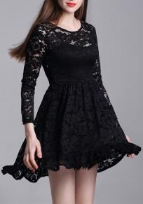 Mini vestido encaje drapeado cuello redondo manga larga elegante negro