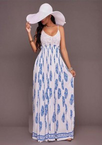 White Floral Print Lace Backless Spaghetti Strap A-line Bohemian Maxi Dress