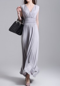 Grey Draped Backless V-neck Sleeveless Slim Elegant Maxi Dress