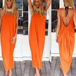 Orange Draped Backless Spaghetti Strap Oversize Maxi Dress