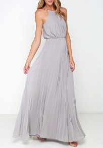 Grey Pleated Halter Neck Sleeveless A-line Bohemian Maxi Dress
