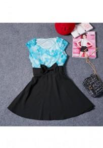 Mini-robe ajourée dentelle cravate fermeture éclair noire