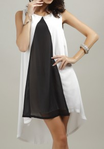 White-Black Color Block Buttons Hollow-out Irregular High-low Mini Dress
