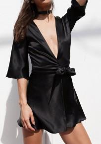 Black Sashes Comfy Deep V-neck Half Sleeve Mini Dress