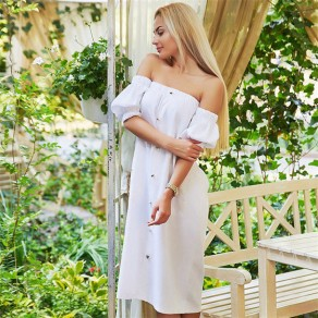White Bandeau Single Breasted Pockets Backless Boat Neck Off-shoulder Casual Midi Dress