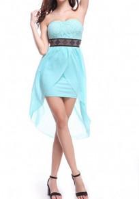 Hellblaues Flickwerk Strass Gürtel Unregelmäßiges Bandeaukleider Midi Kleid