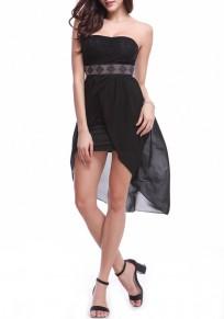 Vestido de mediano cinta de strass cinta para el pelo irregulares negro