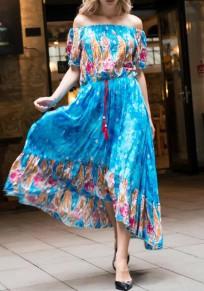 Lake Blue Floral Drawstring High-low Off Shoulder Bohemian Maxi Dress