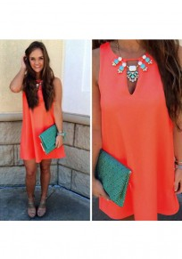 Orange Cut Out Round Neck Sleeveless Casual Mini Dress