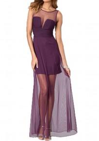Lila Flickwerk Granatapfellikör Rückenfrei Boden Länge Elegante Partei Maxi Kleid