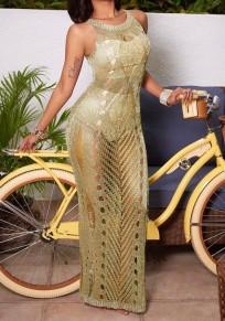 Golden Side Slit Round Neck Sleeveless Elegant Maxi Dress