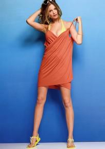 Nacarat Backless Condole Belt Plunging Neckline Mini Dress