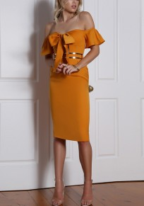 Orange Cut Out Bow Ruffle Zipper Boat Neck Midi Dress