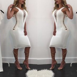 White Lace-up Deep V-neck Sleeveless Bodycon Club Slim Midi Dress