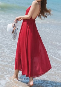 Red Condole Belt V-neck Backless Draped Bohemian Maxi Dress