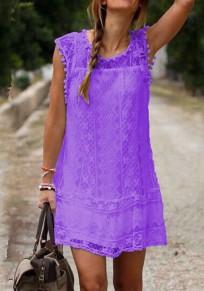 Purple Patchwork Lace Sleeveless Plus Size Elegant Mini Dress
