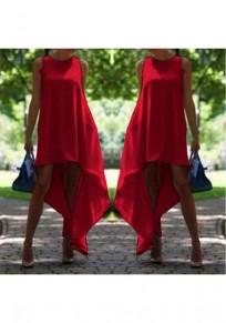Red Irregular Draped High-low Plus Size Midi Dress