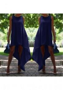 Robe midi drapée irrégulier haut-bas plus taille bleu