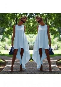 Midi vestito irregolare drappeggiato alto-basso più il formato azzurro