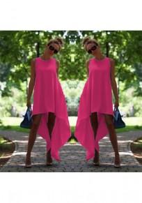 Rose Karmin Unregelmäßiger Drapierter Hoch niedrig Übergröße Midi Kleid