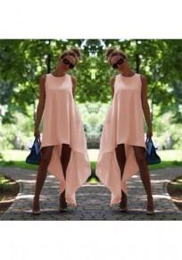 Pink Irregular Draped High-low Plus Size Midi Dress