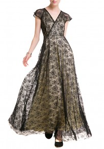 Black Patchwork Lace Double-deck V-neck Short Sleeve Organza Maxi Dress
