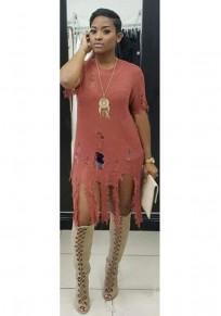 Brown Tassel Ripped Destroyed Short Sleeve Knitwear Sweater Midi Dress