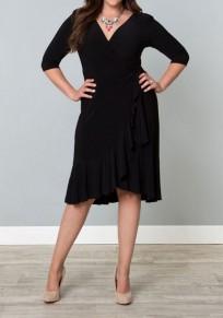 Black Ruffle Irregular Deep V-neck 3/4 Sleeve Plus Size Slim Midi Dress