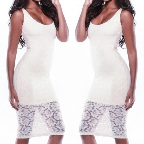 White Floral Lace Backless Round Neck Bodycon Club Elegant Midi Dress