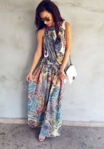 Yellow Floral Round Neck Sleeveless Bohemian Loose Maxi Dress