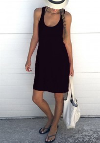 Black Shoulder-Strap U-neck Sleeveless Loose Casual Midi Dress