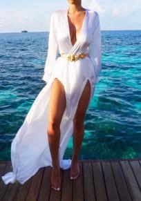 White Deep V-neck Lantern Sleeve Double Slit Bohemian Maxi Dress