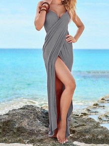 Grau Multiway Sommer Strand Maxikleid Wickelkleid Cover Up Bademantel Handtuch Reise Spa Schwimmen