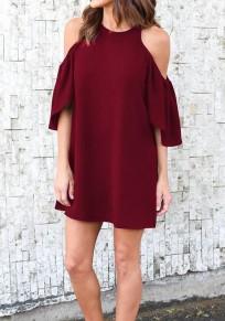 Burgundy Draped Cut Out Off-shoulder Half Sleeve Elegant Mini Dress