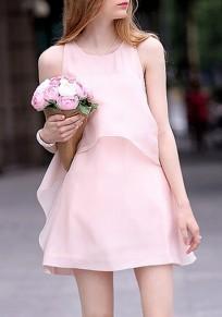 Pink Double-deck Round Neck Sleeveless Pregnant Woman Mini Dress