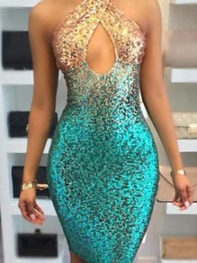 Green-Golden Patchwork Sequin Sparkly Cut Out Bodycon Halter Neck Backless Nightclub Party Midi Dress