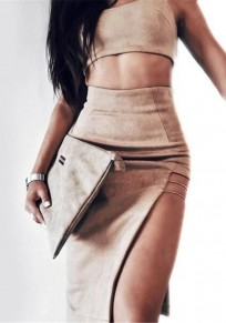 Brown Irregular Spaghetti Strap Side Slit Two Piece Club Midi Dress