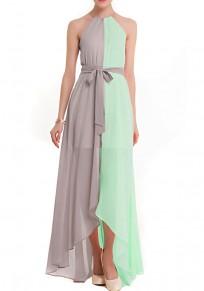 Green Irregular Double-deck Belt Tie Back Tassel Fashion Maxi Dress