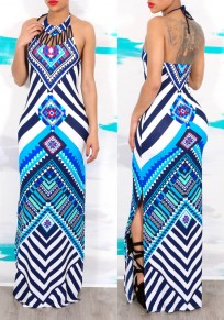 Blue Geometric Print Cut Out Backless Halter Neck Side Slit Tribal Vintage Maxi Dress