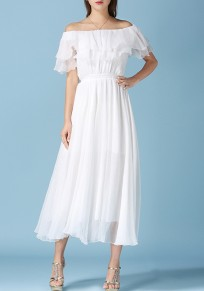 White Cascading Ruffle Pleated Off Shoulder Elegant Beach Maxi Dress