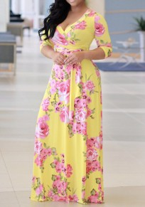 Yellow Flowers Print Sashes Deep V-neck 3/4 Sleeve A-line Bohemian Maxi Dress