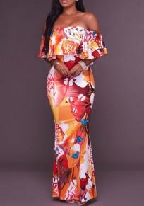 Robe maxi fleurs imprimé manches volantées cou bateau épave sirène bohème orange