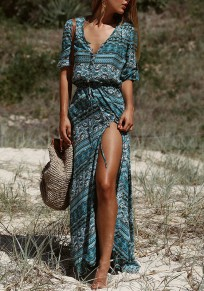 Blue Gypsy Floral Single Breasted Drawstring Boho Thigh High Side Slits Maxi Summer Dress